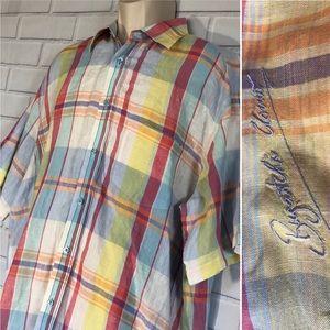 Men's Bugatchi Plaid Linen Button Down